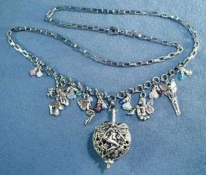 Charms Necklace Scent Fairy Locket Pendant Flowers Glass Crystal