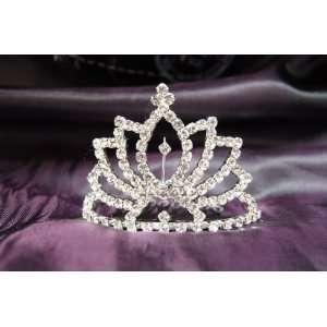 Princess Bridal Wedding Tiara Crown with Crystal Leaf
