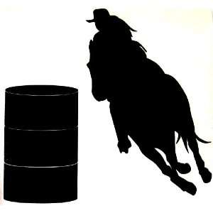 Sm Black Barrel Racer Racing Horse Rodeo Cowgirl Decal