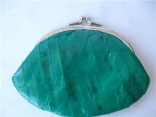 Vintage Genuine Eel Skin Clutch Purse Coin Holder Wallet Kelly Green