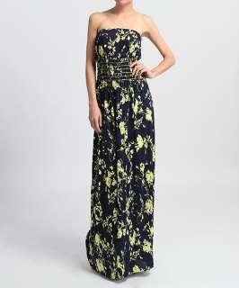 MOGAN Floral Print Strapless Tube LONG MAXI DRESS Draped Jersey Knit
