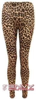 NEW WOMENS LADIES LEOPARD ANIMAL PRINT LOOK FULL LENGTH LEGGINGS SIZE
