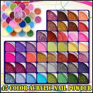 45 POTS NAIL ART GLITTER ACRYLIC DUST POWDERS UV GEL