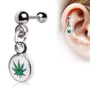 Tragus Dangle Pot Leaf Weed Logo Marijuana Piercing Earring O55