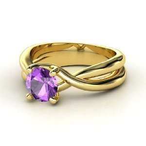 Entwined Ring, Round Amethyst 14K Yellow Gold Ring Jewelry