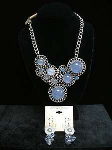 NECKLACE & EARRINGS, BLUE CABS & RHINESTONES, NWT, ERICA LYONS
