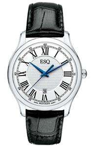 ESQ by Movado Mens 07301367 Filmore Black Leather Strap Silver Round