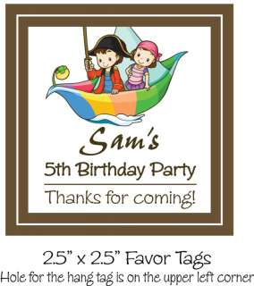 Pirate Ship Kids Birthday Favor Hang Tag Party 12, 2.5