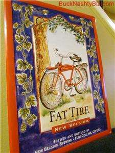 Fat Tire Amber Ale Belgian Beer Tin Metal Bar Sign BRAND NEW bicycle