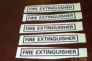 Fire extinguisher stickers Jeep M37 military type rod