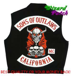 SONS OF OUTLAWS QUALITY BIKER VEST BY ANARCHY ALL SIZES