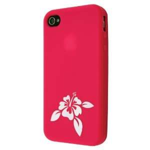 SoCal Case   Magenta Hibiscus Flower Silicone Case for Apple iPhone 4