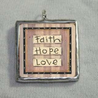 Faith Hope Love Inspirational 1x1 Soldered Silver Charm Pendant