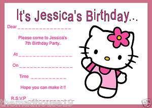 PERSONALISED HELLO KITTY BIRTHDAY INVITATIONS X 10PRINTED ON GLOSSY