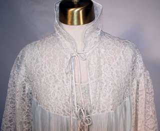 1960s Vintage Pleated Barbizon Nylon Lace Negligee Nightgown & Robe