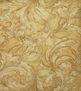 WALLPAPER SAMPLE Tuscany Leaf & Swirl Victorian Faux