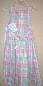 Bonnie Jean Girls ADORABLE Plaid Summer Dress Pastels