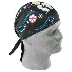 Flydanna Black 100 Percentage Cotton Sugar Skull Bandanna Automotive