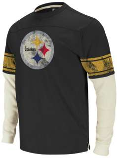Pittsburgh Steelers Black Vintage Thermal Long Sleeve Shirt