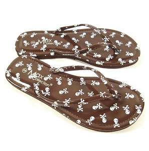 NEW SKULL PRINT FLAT FLIP FLOP THONG SANDALS BROWN