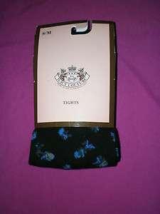 Couture Women Black Eloise Flower Pattern TIGHTS Leggings Size S/M