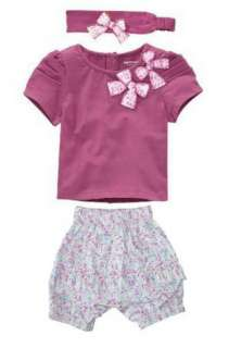 Girl Baby Short Top+ Pants+Headband Set 0 36M Cotton Costume NWT 3 PCS