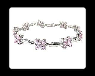 Beautiful Fashion Jewelry Pink Sapphire White Gold GP Tennis Bracelet