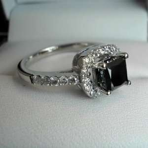14k White Gold Princess Cut Black Diamond Ring with Round