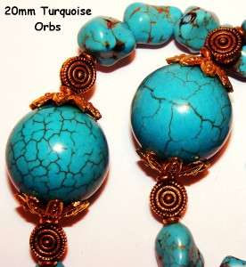 Turquoise ID Badge Lanyard Necklace~Orbs Nuggets w Cross Pendant