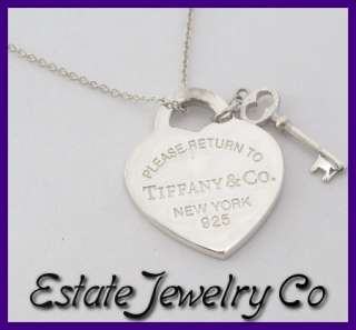 Return to Tiffany & Co Sterling Heart & Key Tag Pendant with Necklace