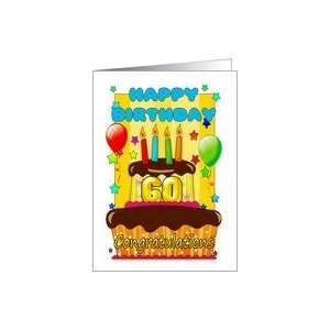 birthday cake with candles   happy 60th birthday Card