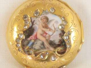ENAMEL 18k SOLID GOLD DIAMOND SET FRENCH ANTIQUE POCKET WATCH