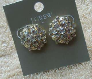 New J.CREW Golden Clear Crystal Cluster Earrings
