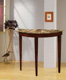 Coaster Cherry Finish Hall Table with Faux Marble Top 950070