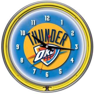 Oklahoma City Thunder NBA Chrome Double Ring Neon Clock 886511030572