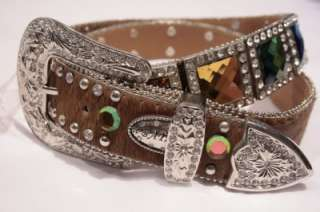 XL 42 Nocona Western Crystal Belt Brown Leather very Trendy & Cool