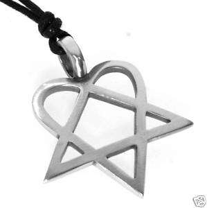 Silver PEWTER Heart Pentagram HEARTAGRAM Rock PENDANT