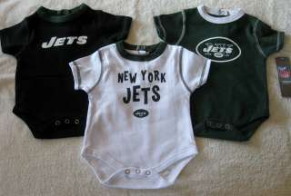 REEBOK SIZE 6 9 MONTHS NFL NEW YORK JETS FOOTBALL 3 PACK BODYSUITS SET