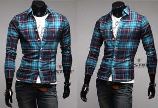 New Mens Luxury Casual Gird Slim Fit Stylish Dress Shirts 12 Color 4