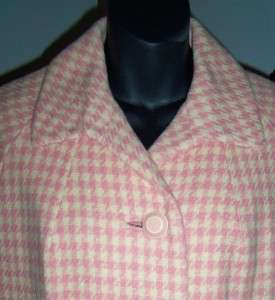 50s 60s Wool Pink Cream Houndstooth Plaid Trapeze Swing Dress Coat M/L