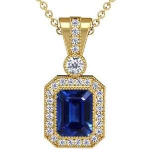 Cut Blue Sapphire And Round Diamond Pendant (GIA Certificate) Jewelry