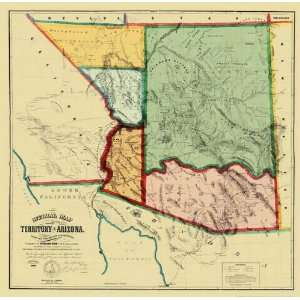 ARIZONA TERRITORY (AZ) BY RICHARD GIRD MAP 1865