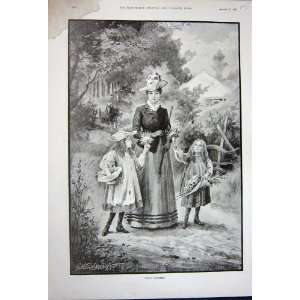 1891 Mother Little Girls Wild Flowers Country Trees