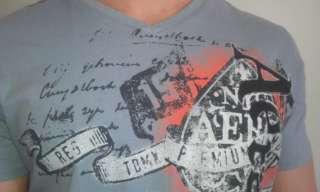 Aeropostale Man Mens Logo V Neck T Tee shirt Gray New Sz L SALE
