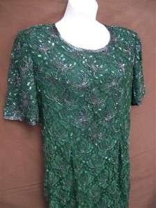 Womens Nice Fancy Green Beaded & Sequined Dress Size XL LAURENCE KAZAR