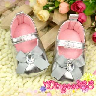 Shiny Silver Bows Baby Girls Toddler Infant Kids Mary Jane Shoes Size
