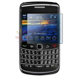BLACK RUBBER HARD CASE+LCD FILM GUARD FOR BLACKBERRY BOLD 9700 ONYX