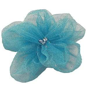Girls Blue Sparkle Netted Flower Clippie Reflectionz