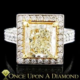 10ctw Princess Cut Fancy Yellow Diamond Halo Engagement Ring