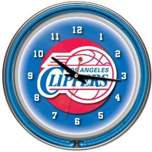 Angeles Clippers NBA Chrome Double Ring Neon Clock Everything Else